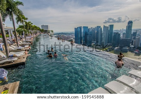 Singapore september 11 pool view city stock photo for Pool garden marina mandarin