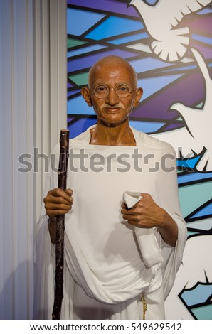 Singapore - September 15,2015 : The wax figure of Mahatma Gandhi in Madame Tussauds Singapore.
