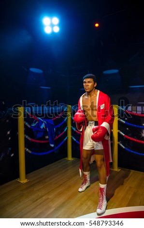 Singapore - September 15,2015 : The wax figure of Muhammad Ali in Madame Tussauds Singapore.