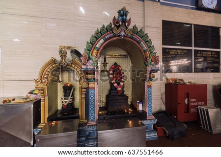 Singapore - Singapore - April 20, 2017: the Sri Veeramakaliamman Temple at the Little India district in Singapore.
