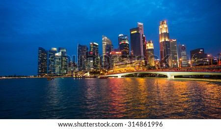 SINGAPORE, SINGAPORE - AUGUST 10: View of downtown Singapore city on Aug 10, 2015 in Singapore. Singapore is one of the world's major commercial hubs.