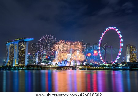 Singapore, Singapore - December 31, 2015: firework show at the marina bay in singapore for the new year's day