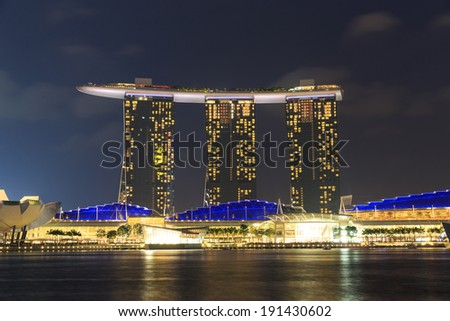 SINGAPORE,SINGAPORE DECEMBER 12, 2014: The 6.3 biliion dollar (US) Marina Bay Sands Hotel dominates the skyline at Marina Bay on Dec. 12, 2014 in Singapore.