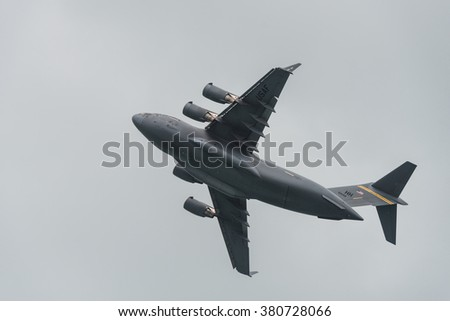 Singapore, Singapore - February 20, 2016: The Boeing C-17 Globemaster III large military transport aircraft during the Aerobatic Flying Displays at Singapore Airshow