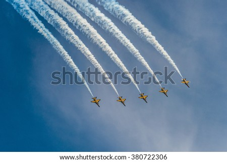 Singapore, Singapore - February 21, 2016: The ROKAF Black Eagles from South Korea in their T50B Golden Eagles during the Aerobatic Flying Displays at Singapore Airshow