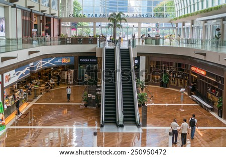 SINGAPORE, SINGAPORE - JANUARY 21: Interior of the Shoppes at Marina Bay Sands on JAN 21, 2015 in Singapore. It is located at the Marina Bay Sands, an integrated resort fronting Marina Bay, Singapore.