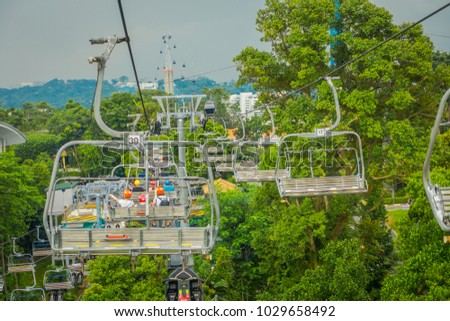 SINGAPORE, SINGAPORE - JANUARY 30, 2018: Outdoor view of Singapore Sentosa Cable Car and Skyline Luge, Singapore
