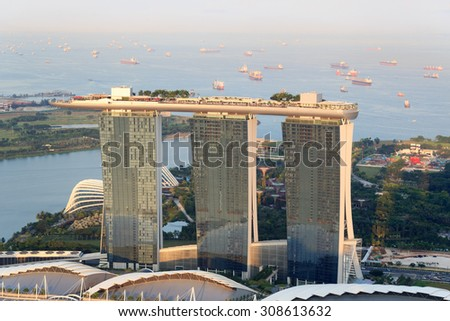 Singapore, Singapore - May 18, 2015: Marina Bay Sands hotel in Singapore. The hotel is a luxury resort famous for its infinity swimming pool. The hotel is a landmark in Singapore. - stock photo
