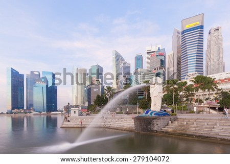 Singapore, Singapore - May 11, 2014: Merlion is a mythical creature with the head of a lion and the body of a fish,and is seen as a symbol of Singapore.