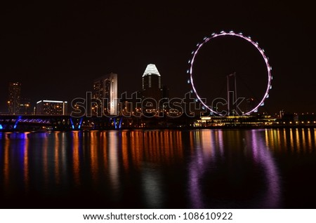 Singapore skyline and flyer - stock photo