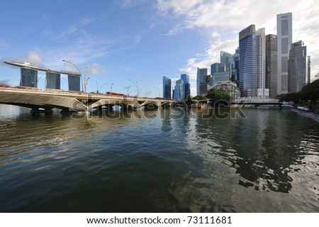 Singapore skyline and river at daytime - stock photo