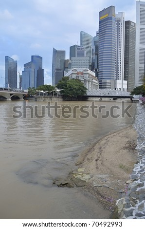 Singapore skyline and river during daytime - stock photo
