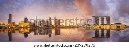 Singapore Skyline and view of skyscrapers on Marina Bay - stock photo