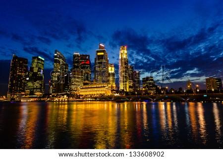 Singapore Skyline at Dusk january 2012 - stock photo