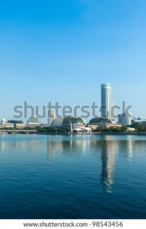 Singapore skyline at Marina Bay in the day - stock photo