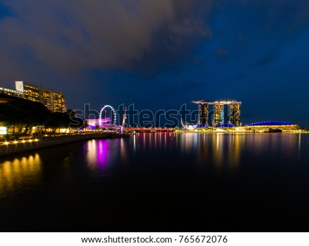Singapore skyline at night with urban buildings. November, 2017
