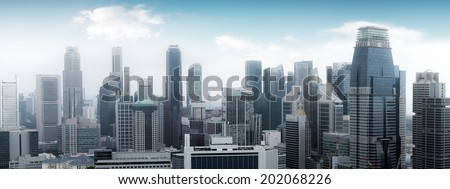 Singapore skyline panoramic view. High modern skyscrapers  - stock photo