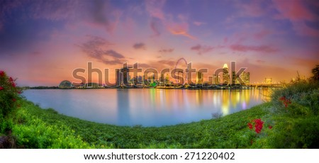Singapore skyline, the green city of gold - stock photo