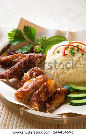 Singapore style Hainan chicken rice close-up. Asian food. - stock photo