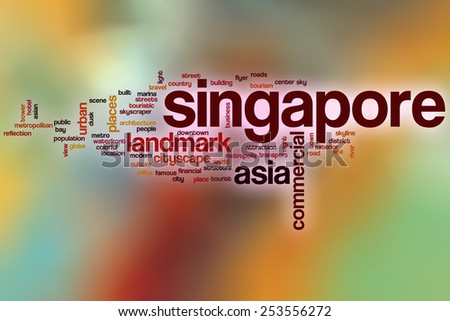 Singapore word cloud concept with abstract background - stock photo