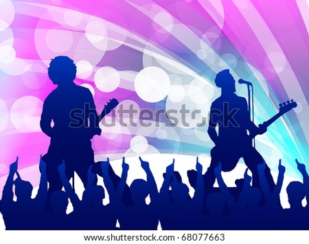 singer and the crowd of fans - raster concert poster - stock photo