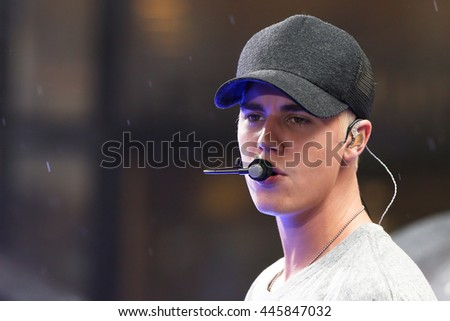 Singer Justin Bieber performs on NBC's 'TODAY Show' at Rockefeller Plaza on September 10, 2015 in New York City. - stock photo