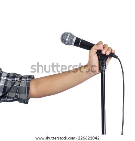 Singer on white background - stock photo