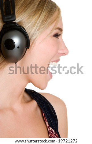 Singing Music Girl - stock photo