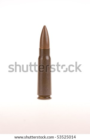single AK 47 round - isolated on white