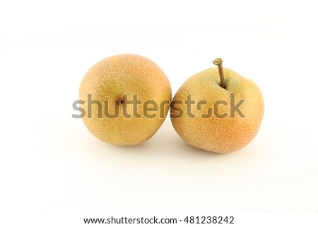 Single Asian pear on white background