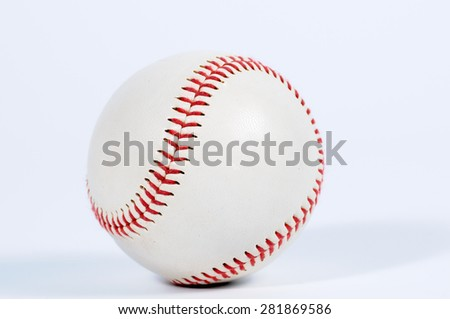 Single baseball with red knit. - stock photo