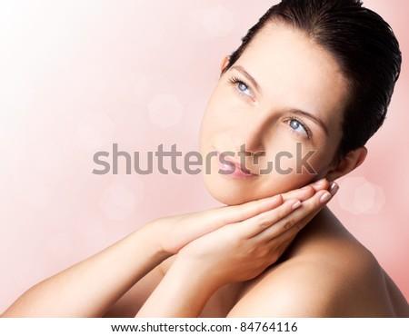 single beautiful woman,close-up - stock photo