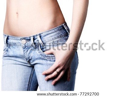 single beautiful woman in jeans on the white