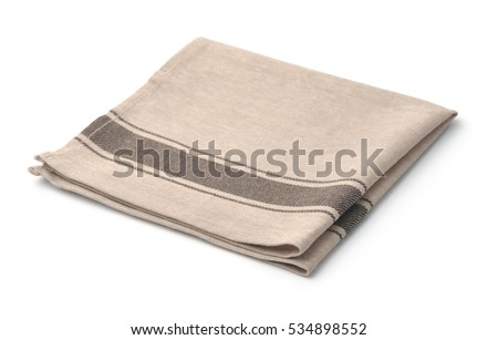 Single beige linen napkin isolated on white