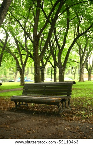 Single bench in a park - stock photo
