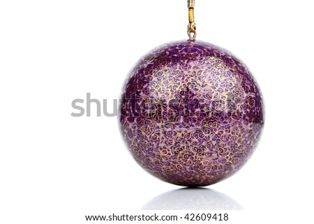 Single big  ball hanging on white background