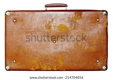 single big old shabby leather suitcase of brown color isolated on a white background - stock photo