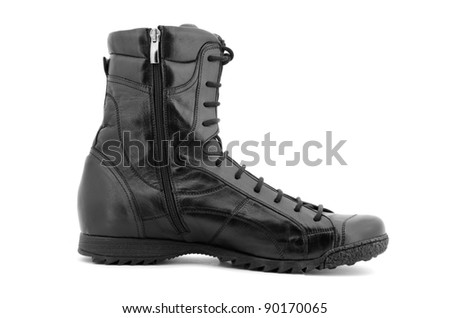 Single black boot isolated over white background.