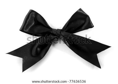 Single Black Bow isolated on white background - stock photo