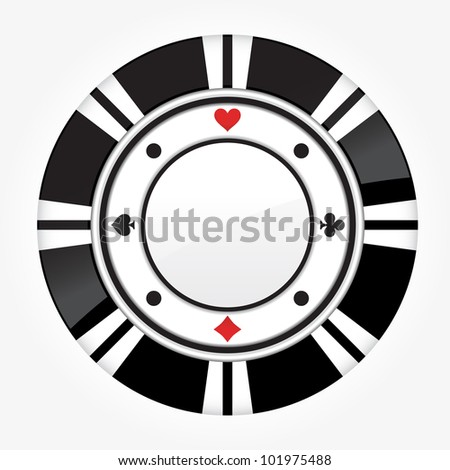 Single black casino chip isolated on white background