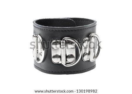 single black leather handcuff isolated on white background - stock photo
