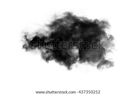 Single black smoky cloud over white background, inkblot in water