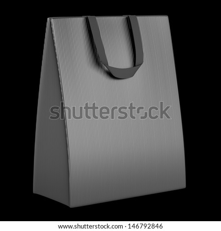 single blank gray shopping bag isolated on black background - stock photo