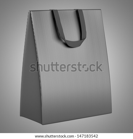 single blank gray shopping bag isolated on gray background - stock photo