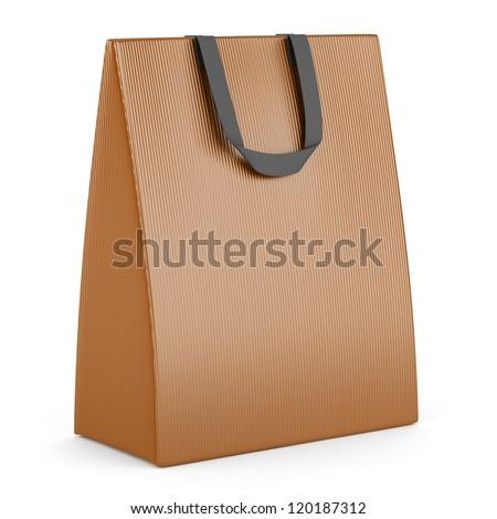 single blank orange shopping bag isolated on white background - stock photo