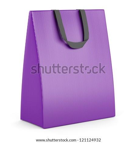 single blank purple shopping bag isolated on white background - stock photo