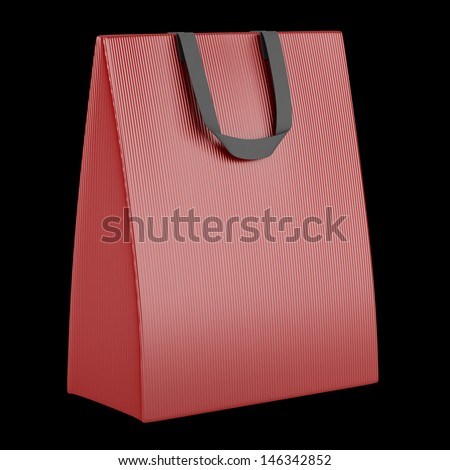 single blank red shopping bag isolated on black background - stock photo