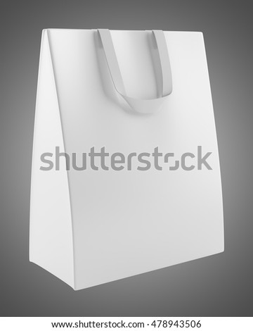 single blank shopping bag isolated on gray background. 3d illustration