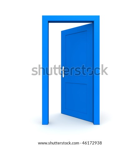 single blue door open - door frame only, no walls - stock photo