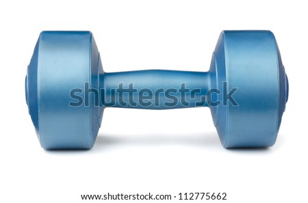 Single blue dumbbell isolated on white - stock photo